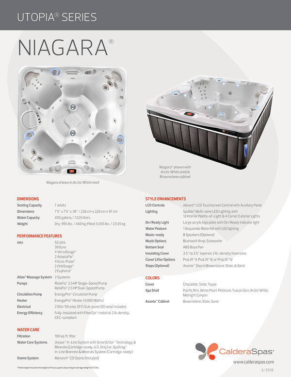 2018 Utopia-Niagara Spec Sheet