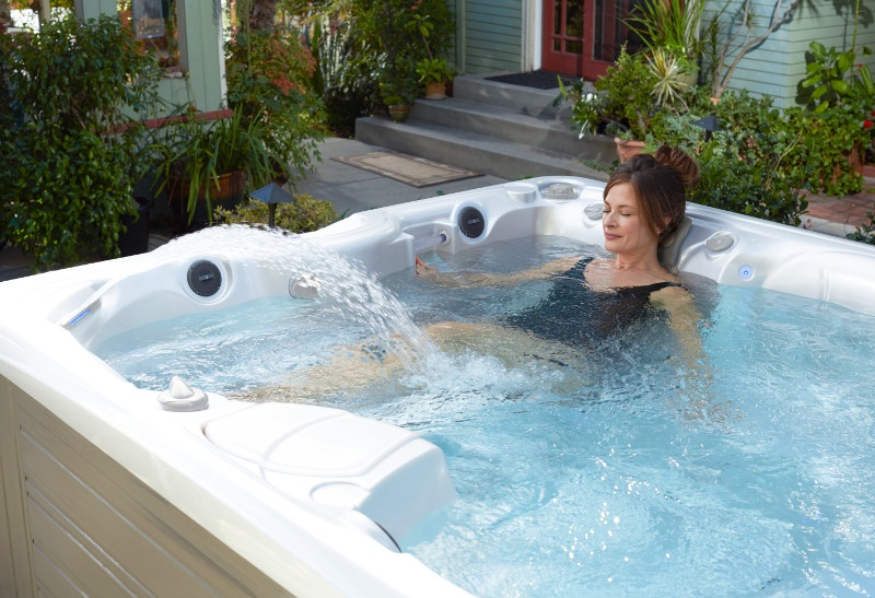 Woman relaxing in the hot tub to get some alone time.